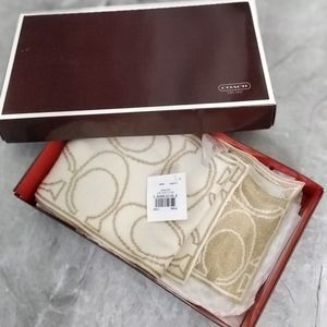 Coach Merino wool Blend Gold/Cream Scarf(w/tags)